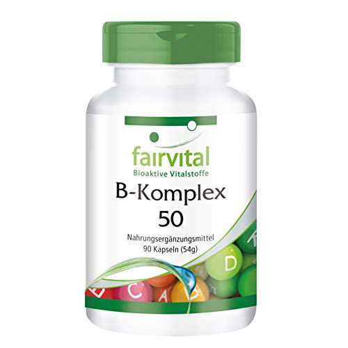 Vitamin B Komplex Kapseln 50 - HOCHDOSIERT - VEGAN - 90 Kapseln - Vitamin B Komplex mit Cholin und Inositol - B-komplex 90 Kapseln