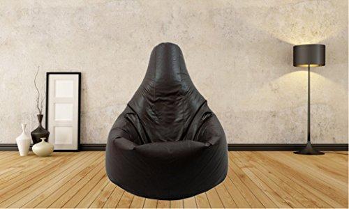 bestllin Sitzsack Stuhl Schwarz Highback Wasserfeste Sitzsäcke für den Innen- und Außenbereich, ideal für Spiel und Garten, keine Perlen. (black)