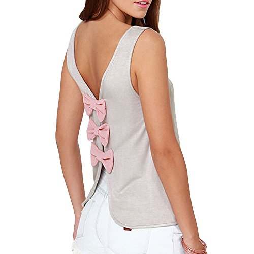 Pinkyee Women's Sexy Elegante Schmetterling offen, Knoten/Casual Tank-Tops Grau - Grau