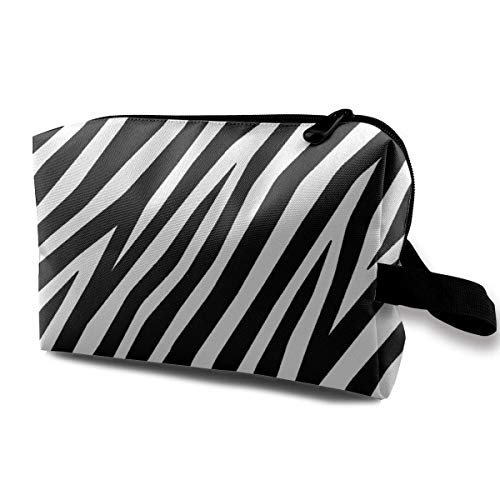 Zebra Black and White Graphic Cosmetic Bag with Zipper Organizer Storage Bag for Women's Accessories Toiletry Travel Bag BB13B -