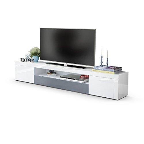 TV Board Lowboard Santiago V2, Korpus in Weiß Hochglanz / Fronten in Weiß Hochglanz und Grau Hochglanz