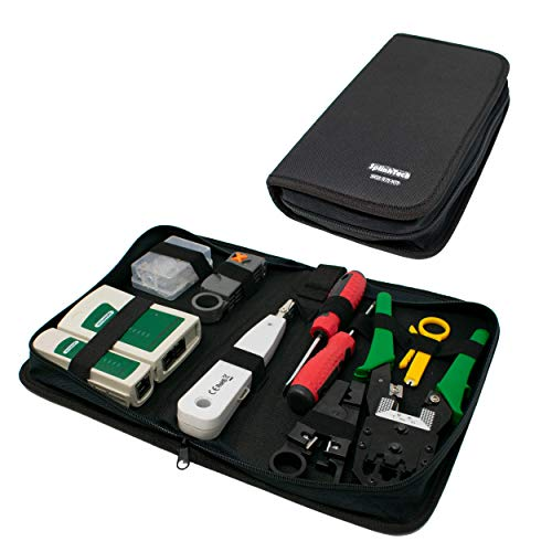 I-CHOOSE LIMITED Vernetzung RJ45-Steckverbinder Crimper Punch Down mit Abisolierkabel Tester Tool Kit Koffer