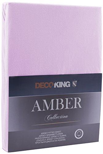 DecoKing 17968 80x200-90x200 cm Spannbettlaken lila 100% Baumwolle Jersey Boxspringbett Spannbetttuch Bettlaken Betttuch Lilac Amber Collection - 2