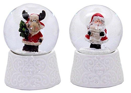 20087bc mignonnes mini globes à neige avec base en porcelaine blanche de Noël, diamètre 45mm