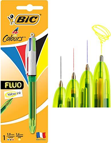 BIC 4 colores Fluo bolígrafos Retráctiles - Tinta Negra, Azul, Rojo y Amarillo Fluorescente, Blíster de 1 Unidad
