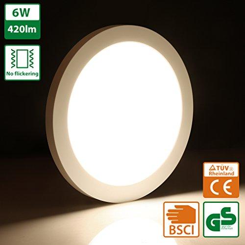 Oeegoo led plafoniera 6w 13mm ultra magro lampada da soffitto luce da incasso led rotonda illuminazione plafoniere 420lm- equivalente 50w tradizionale