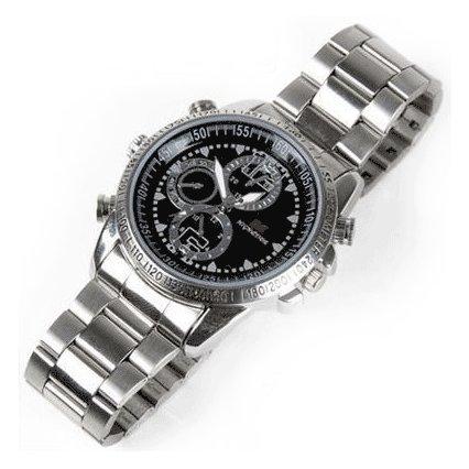 Preisvergleich Produktbild Armbanduhr mit versteckter Kamera, 8-GB-Speicher, USB-DVR-Überwachungskamera & Tonaufnahmegerät, mit Stahlarmband