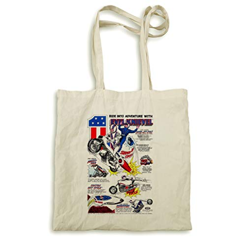 Pyramid International Impression encadrée Evel Knievel Super Jet Cycle naturel Sac fourre-tout