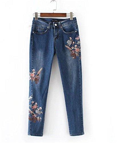 EMIN Damen Skinny Jeanshose Dennim Mittlere Taille Detail Bleistifthose  Hüftehose Leggings mit Stickerei Blau