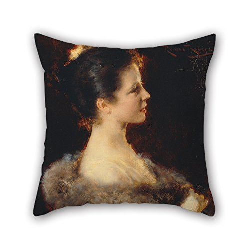 Painting Romà Ribera - Woman in Evening Gown Throw Pillow Case 20 X 20 Inches/50 by 50 cm for Teens Boys Divan Him Home Office Wedding Seat with 2 Sides ()