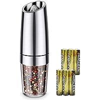 Molinillo eléctrico de sal y pimienta, 100 ml, molinillo de sal y pimienta con luz LED y placas de molienda ajustables, funciona con batería, molinillo de pimienta