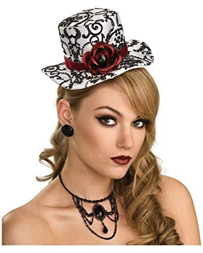 Mini Gothic Schwarz Hut Mit Rote Rose - Horror-Shop Weiß-schwarzer Mini Hut mit Rose