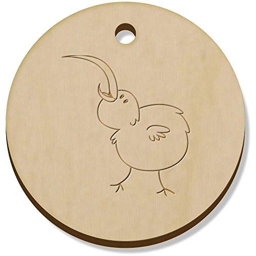 11 x 34mm 'Glücklicher Kiwi-Vogel' Hölzerne Anhänger / Schmuckanhänger (PN00025758) (Kiwi-vogel-anhänger)