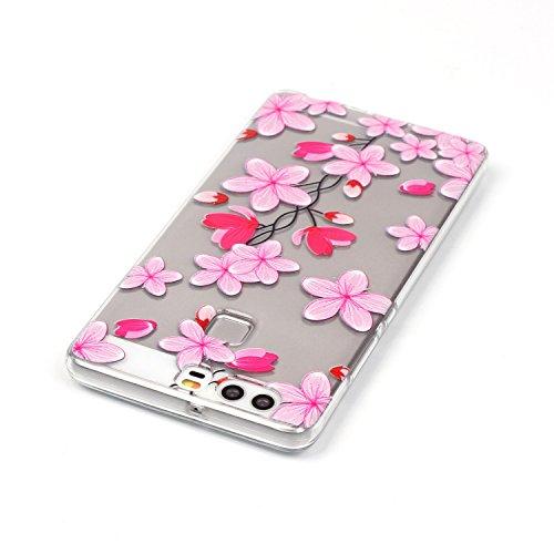 aeeque Custodia morbida in silicone per iPhone 5/5S/SE/6/6S (Plus)/Huawei P9/LG, colorato farfalla fiore disegno trasparente [] posteriore flessibile ultra sottile Bumper [] protezione antiurto Pink Love Flower