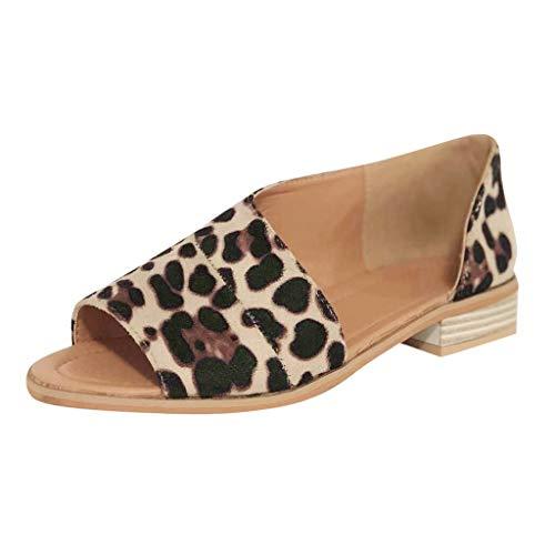 sandalen damenLeopard Peep Toe Niedrige Absätze Quadratischer Absatz Rom Praktische Sandalen(36, Braun) - Weiß Niedrigen Sandalen, Keil