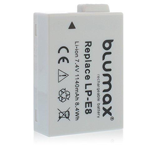 Blumax Kamera Akku für Canon LP-E8 | 1140mAh | 7,4V passend zu EOS 550D 600D 650D 700D / EOS Kiss X4 X5 X6i X7 / Digital Rebel T2i T3i T4i T5i