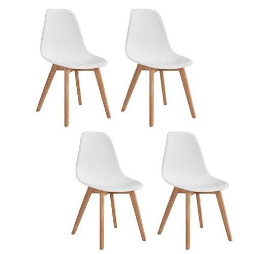 Générique Sacha Lot de 4 chaises de Salle a Manger scandinaves - Blanc