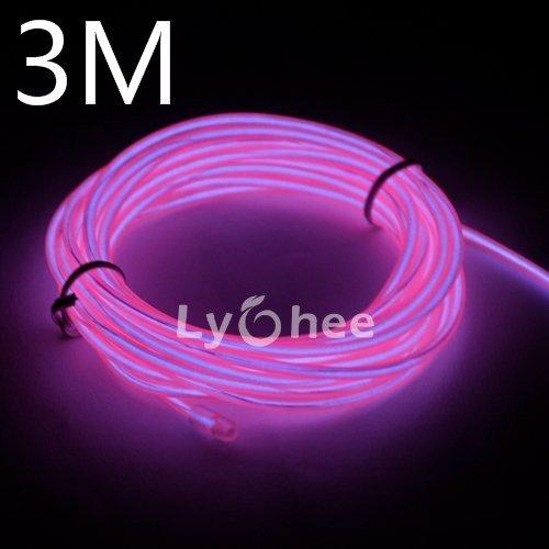 Wire-pink Led (Lychee Flexibel 9 ft 3 m Neon Beleuchtung Draht Lichtschlauch Leuchtschnur EL Kabel Wire mit 3 Modis für Partybeleuchtung(Pink))
