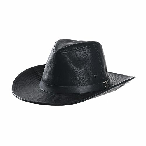WITHMOONS Sombrero de Cowboy Faux Leather Indiana Jones Hat Outback Hat Fedora CD8859 (Black)