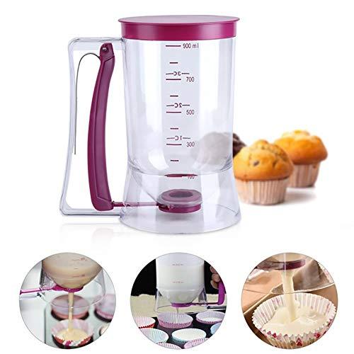 Romote Cupcake pastella Strumento di Dispenser con misurazione Etichetta Facile da ripulire No Drip Dispenser 900ml Pasta capacità adeguata per cuocere Torte Pancakes Muffins