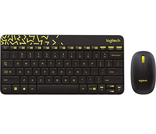LOGITECH MK240 Nano Wireless Keyboard and Mouse Combo - Black/Chartreuse - EMEA (US) INTNL
