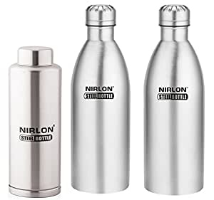Nirlon Stainless Steel Water Bottle Set, 3-Pieces, Silver (FB_48844_48844_48842)