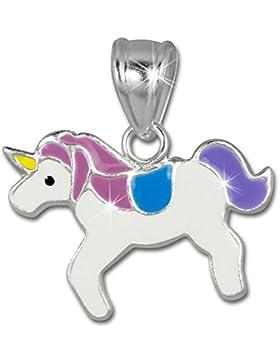 Teenie Weenie Ketten-Anhänger Kinder Mädchen Einhorn lila-weiß 925 Sterling-Silber SDH8105W