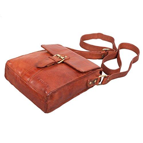 STILORD 'Kilian' Vintage Borsa Messenger piccolo Uomo Donna Borsa a tracolla peri Tablet PC 8.4 pollici cassico in vera pelle siena - marrone, Colore:cognac - used cognac - used