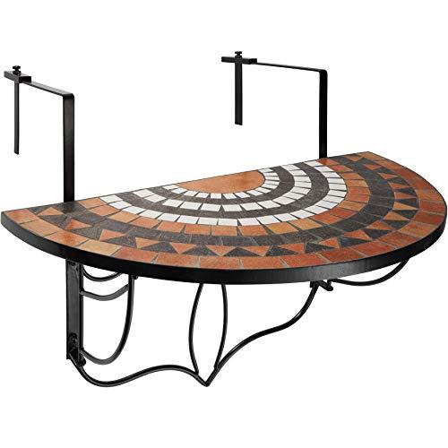 TecTake 800570 - Balkonhängetisch zusammenklappbar, Halbkreisförmiges Design, Tischplatte aus...