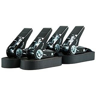 Sandax 1042.0021 Zurrgurt 4m, 25mm, Gurtfarbe STK. per, 1-teilig, LC 400 daN, 4 Stück pro Beutel, Schwarze Ratsche, nach EN 12195-2, GS-Zeichen