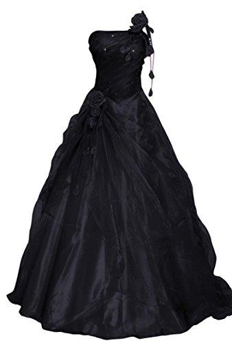 Romantic-Fashion Damen Ballkleid Abendkleid Brautkleid Lang Modell E232 A-Linie Blüten Perlen Pailletten DE Schwarz Größe 40 (Rock Perlen Satin)