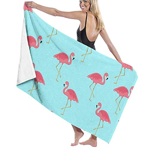 fgregtrg Beach Towels Decor Polyester Fiber Flamingo Floral Sky Blue Bath Towels Oversized Soft, High Absorbent, Eco-Friendly Printed Bath Towel,Quick Dry 31.5\