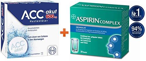 Sparset Erkältung ACC akut 600 mg 40 Brausetabletten und Aspirin complex Granulat 20 Beutel 1 Set