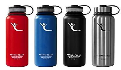Trinkflasche Active Flask von BeMaxx Fitness + 3 Trinkverschlüsse - Doppelwandig vakuum-isolierte 950ml|32oz Edelstahl Thermosflasche für Büro, Sport, Outdoor - Ideal für Kaffee, Tee, Kaltgetränke