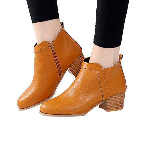 TianWlio Boots Stiefel Schuhe Stiefeletten Frauen Herbst Winter Mode Vintage Niedriger Absatz Starke Ferse Kurze Stiefel Stiefeletten Booties Stiefel Schuhe Weihnachten Gelb 42