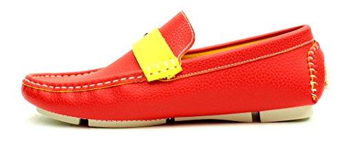 Unisexe Mocassins À Enfiler Chaussures Semelle Antidérapante Mode Décontractée Semelle Mocassins Tailles Rouge