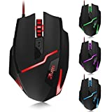 Zelotes T10 Professionelle Gamer Maus,7200DPI,7 Tasten,7 Licht Modi USB Optische Wired Mouse Mäuse für PC MAC Laptop