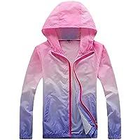 Men Jacket Home Chaquetas Rompevientos de protección Solar para Hombre con Cremallera Completa Ombre (Color : Pink, Size : US-Xsmall)