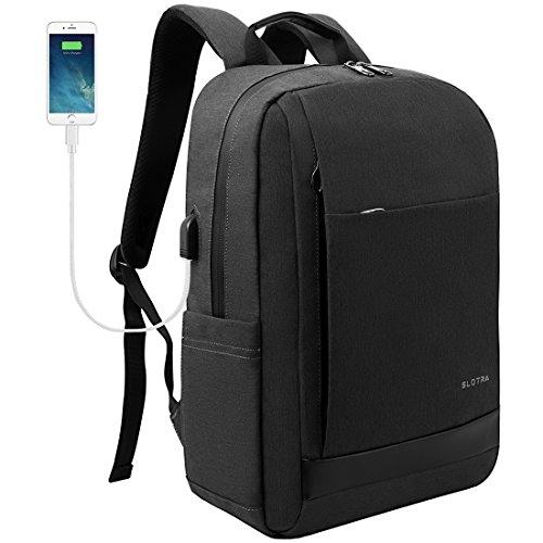 62dc419955 SLOTRA Zaino per PC Portatile Impermeabile Zaino per laptop con porta USB  Borsa per Portatile 15