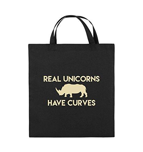 Borse Da Commedia - Veri Unicorni Hanno Curve - Borsa Di Juta - Manico Corto - 38x42cm - Colore: Nero / Argento Nero / Beige
