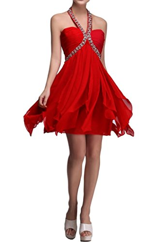 Sunvary A-line Top in Chiffon Prom perline da damigella Homecoming Gowns Rosso