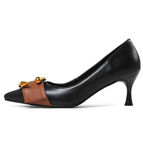 HUAN Damenschuhe Leder Frühling Sommer Stöckelabsatz Split Joint für Kleid Party & Abend Schwarz, Ingwer (Farbe : B, Größe : 37) (Ingwer-schwarz Schuhe)