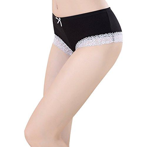 711c83c0b Ladies Girls Cotton Plain Underwear Briefs with Lace Trim Boxer ...
