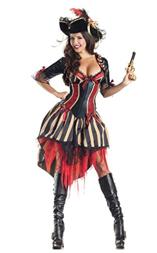 Karneval Mottoparty Halloween Königin Piraten Kostüm Sexy Streifen Kleid Damen ()