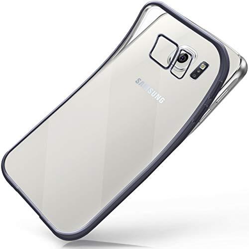 moex Samsung Galaxy S6 | Hülle Silikon Transparent Anthrazit Chrom Back-Cover Silikonhülle Dünn Schutzhülle Handyhülle für Samsung Galaxy S6 Case Ultra-Slim Tasche TPU