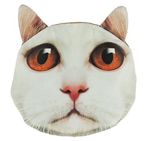Adorabile gatto Lovers Cat Face small Spalla Borsetta White Orange Eyes