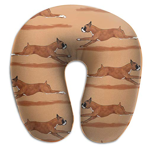 Fun Life Art Running Boxer Dog Memory Foam Travel Pillow Round U-Shaped  Neck/Head Support Relieve Cervical Fatigue for Sleeping Airplanes Train and