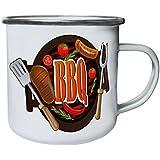 Nueva Barbacoa Y Parrilla Carne Partido Retro, lata, taza del esmalte 10oz/280ml m559e