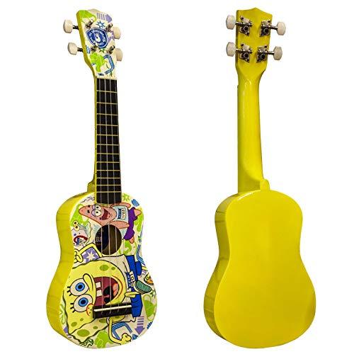 Spongebob Schwammkopf Sopran-Ukulele mit 4 Nylonsaiten in gelb (Ukulele Spongebob)