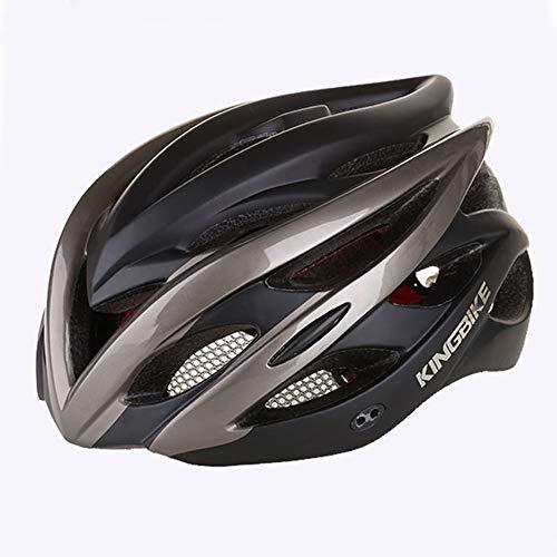 Member Radfahren Fahrradhelm Teen/Jugend Sicherheit Schutz Fahrradhelm Erwachsene LED Rücklicht Verstellbarer Riemen Mountainbike Fahrradhelme 58~62 cm,blacktitanium